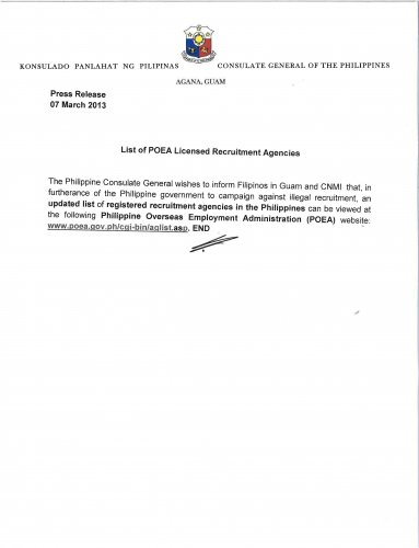 List Agency Poea http://www.philippinesportland.org/news/3144/568/LIST-OF-POEA-LICENSED-RECRUITMENT-AGENCIES/d,phildet/
